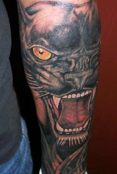 Arm Realistic Panther Tattoo by Dr Mortiis Tattoo Clinic