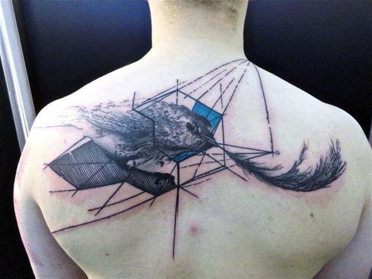 Feather Back Bird Tattoo by Toko Lören Tattoo