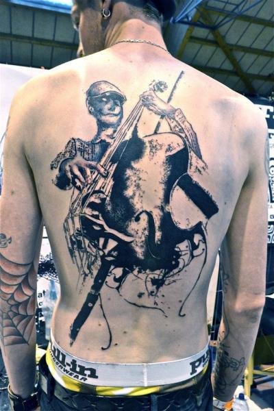 Back Music Tattoo by Toko Lören Tattoo