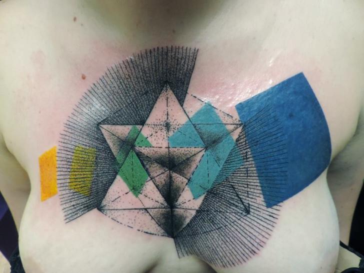 Geometric Breast Abstract Tattoo by Toko Lören Tattoo
