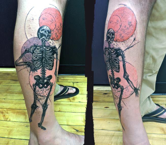 Calf Leg Skeleton Tattoo by Toko Lören Tattoo