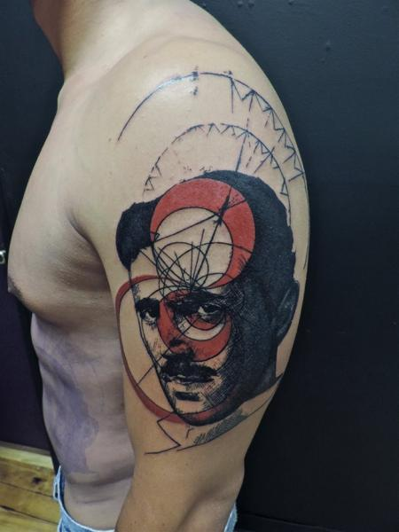 Shoulder Portrait Abstract Tattoo by Toko Lören Tattoo