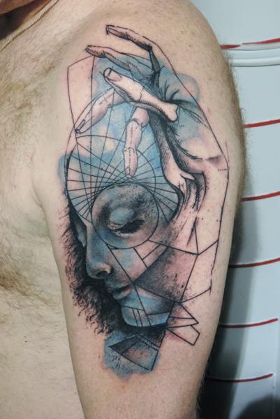 Shoulder Hand Abstract Tattoo by Toko Lören Tattoo