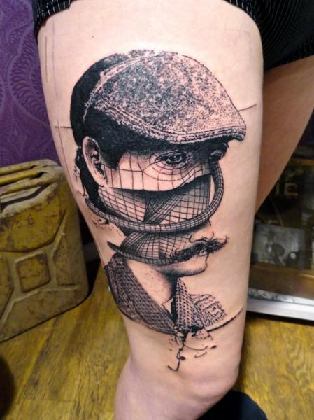 Portrait Thigh Hat Abstract Tattoo by Toko Lören Tattoo