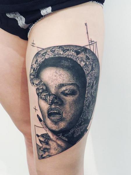 Snake Women Thigh Tattoo by Toko Lören Tattoo