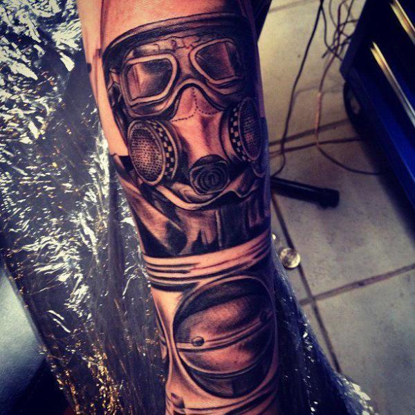 e38bc49bbb91e Arm Gas Mask Tattoo by Underworld Tattoo Supplies