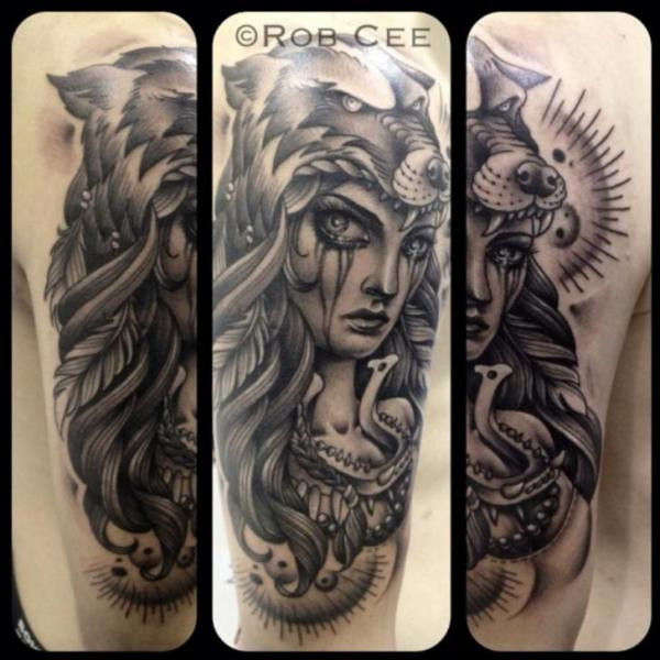 Arm Women Wolf Tattoo by Underworld Tattoo Supplies