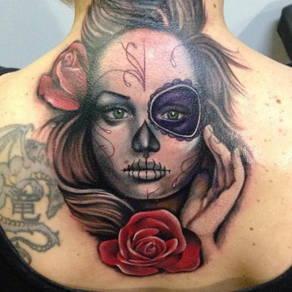 Flower Mexican Skull Back Neck Tattoo by Underworld Tattoo Supplies
