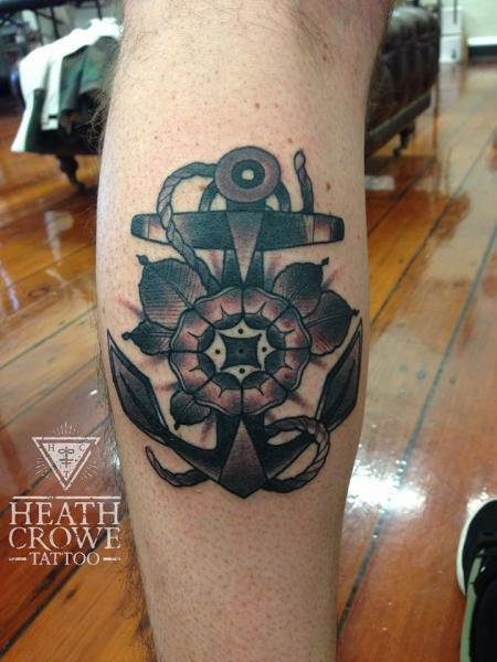 Calf Flower Anchor Tattoo by Underworld Tattoo Supplies
