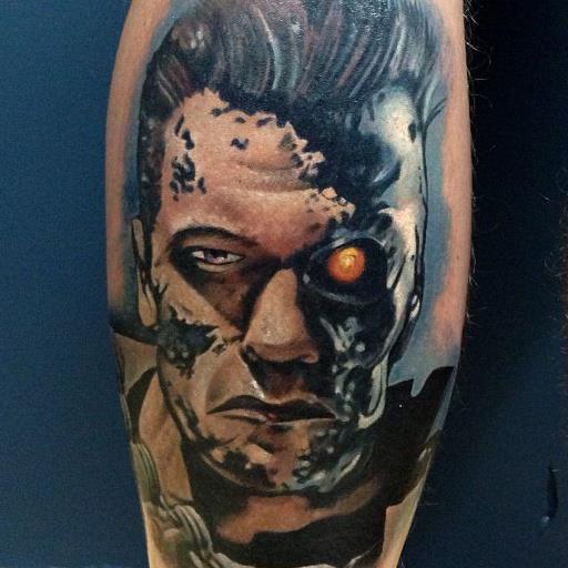 Fantasy Calf Terminator Tattoo by Underworld Tattoo Supplies