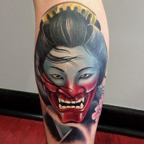 Calf Demon Geisha Tattoo By Underworld Tattoo Supplies