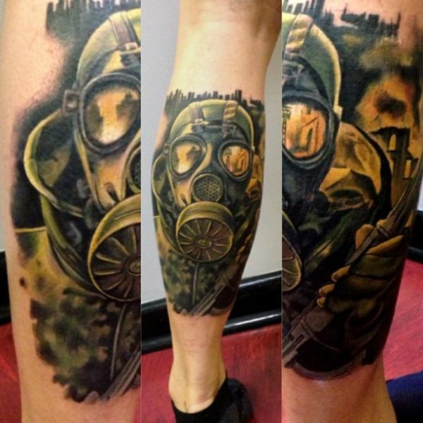 Realistic Calf Gun Gas Mask Tattoo by Underworld Tattoo Supplies
