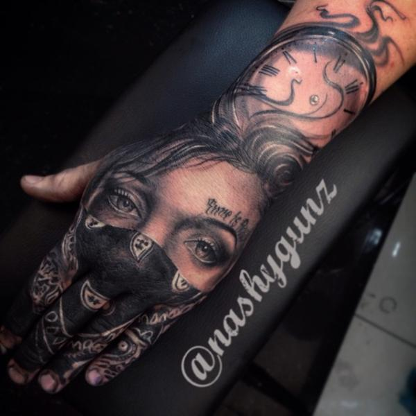 Realistic Clock Finger Women Hand Tattoo by Underworld Tattoo Supplies