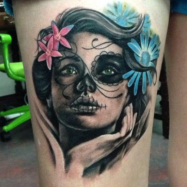 Mexican Skull Thigh Tattoo by Underworld Tattoo Supplies