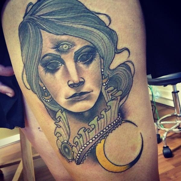 Women Thigh Moon Tattoo by Underworld Tattoo Supplies