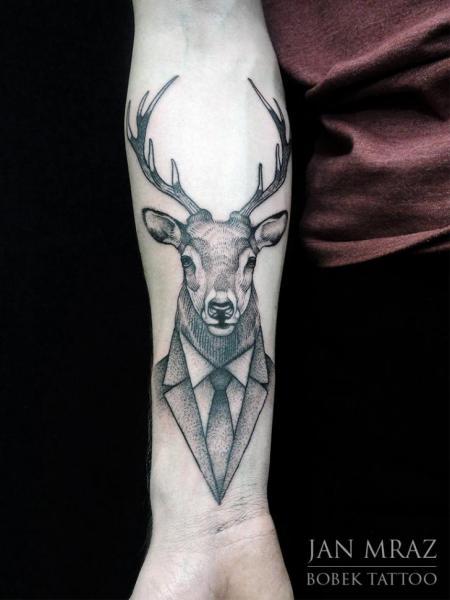 Arm Dotwork Deer Tattoo By Jan Mràz