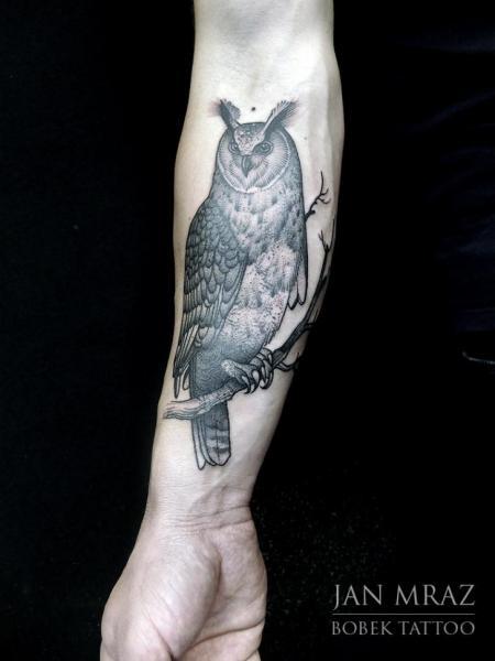 Arm Owl Dotwork Tattoo by Jan Mràz