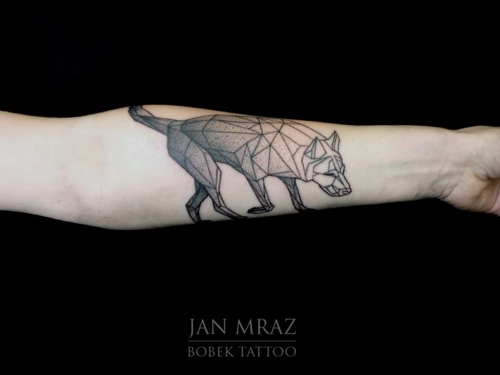 Arm Wolf Dotwork Tattoo by Jan Mràz