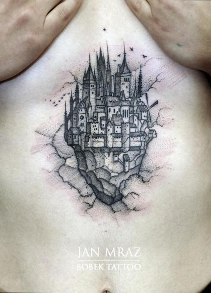 Belly Castle Tattoo by Jan Mràz