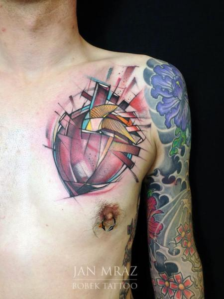 Chest Heart Abstract Tattoo by Jan Mràz
