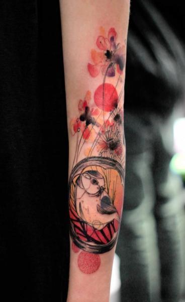 Arm Bird Water Color Tattoo by Dead Romanoff Tattoo