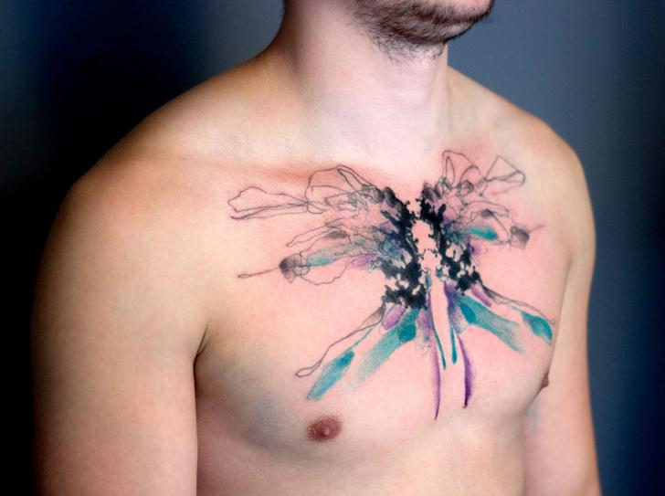 Chest Abstract Tattoo by Dead Romanoff Tattoo