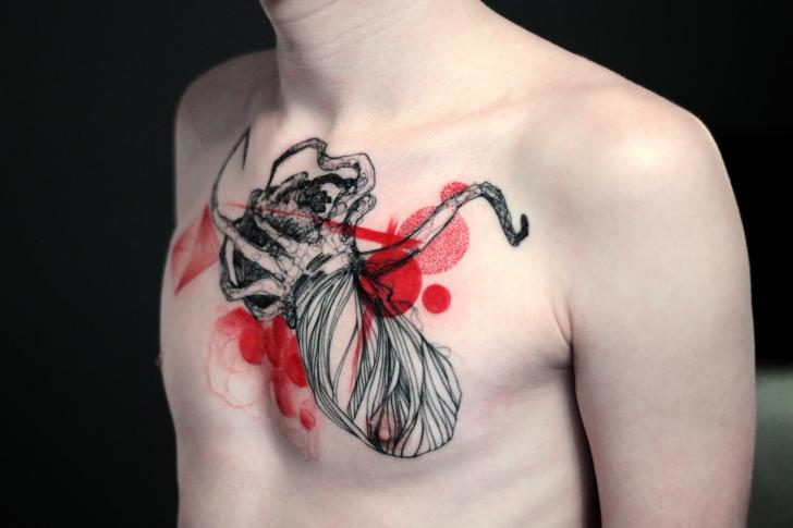 Chest Octopus Tattoo by Dead Romanoff Tattoo