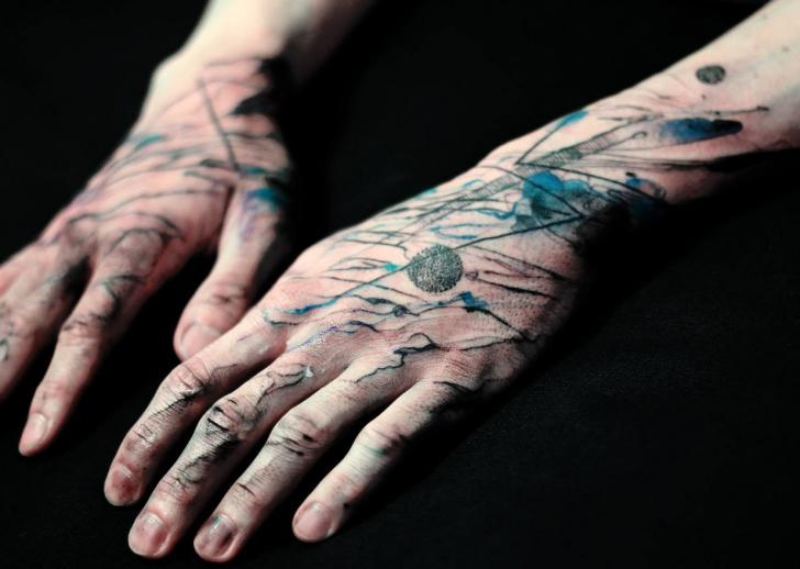 Arm Hand Abstract Tattoo by Dead Romanoff Tattoo