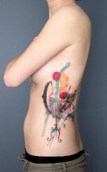 Side Water Color Tattoo by Dead Romanoff Tattoo