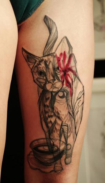 Cat Thigh Abstract Tattoo by Dead Romanoff Tattoo