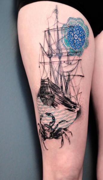 Galleon Thigh Tattoo by Dead Romanoff Tattoo
