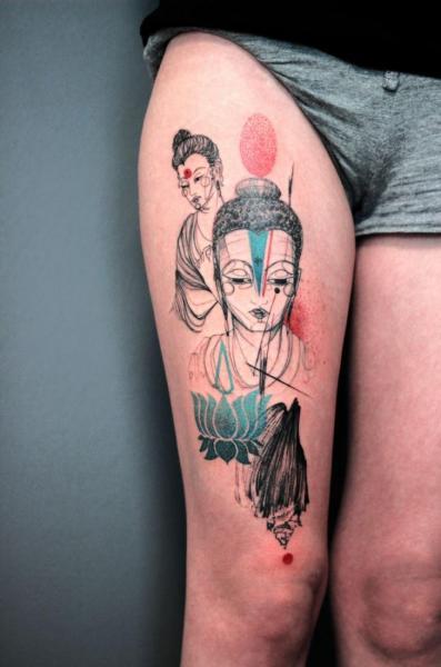 Buddha Schale Oberschenkel Tattoo von Dead Romanoff Tattoo