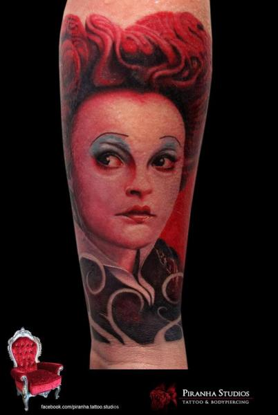 Arm Fantasy Alice Wonderland Queen Tattoo by Piranha Tattoo Studio