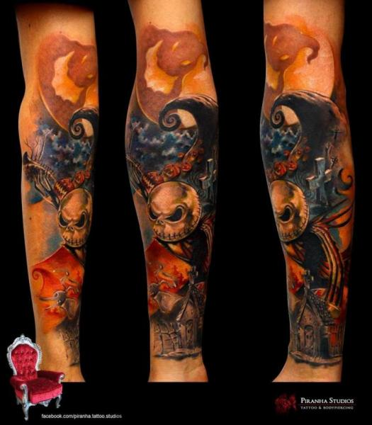 Arm Fantasy Tim Burton Tattoo by Piranha Tattoo Studio