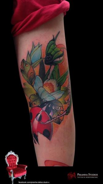 Arm Flower Ladybug Tattoo by Piranha Tattoo Studio