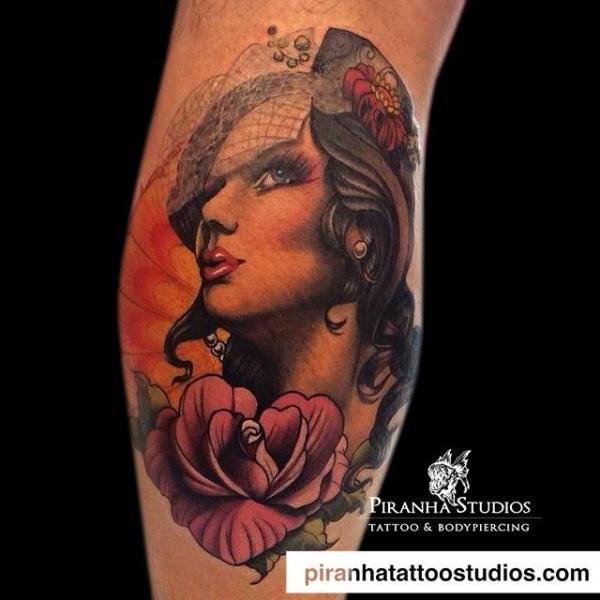 Arm Flower Gypsy Tattoo by Piranha Tattoo Studio