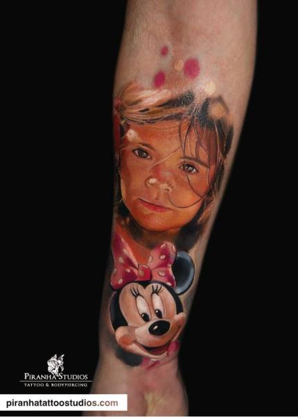 Arm Portrait Minnie Tattoo by Piranha Tattoo Studio