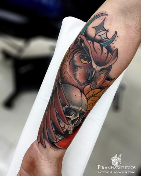 Arm New School Skull Owl Tattoo by Piranha Tattoo Studio