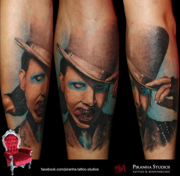 Arm Portrait Marilyn Manson Tattoo by Piranha Tattoo Studio