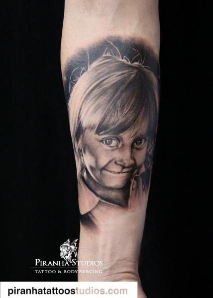 Arm Portrait Realistic Children Tattoo by Piranha Tattoo Studio