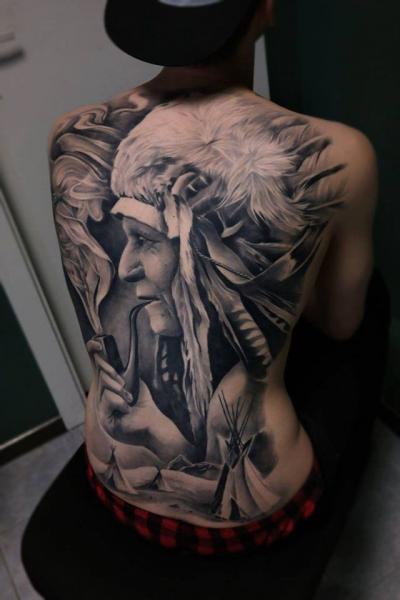 Portrait Realistic Back Indian Tattoo by Piranha Tattoo Studio