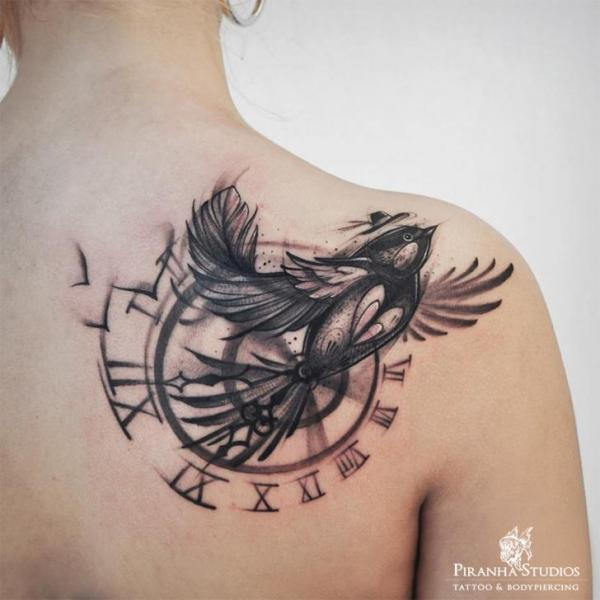 Shoulder Clock Back Bird Tattoo By Piranha Tattoo Studio
