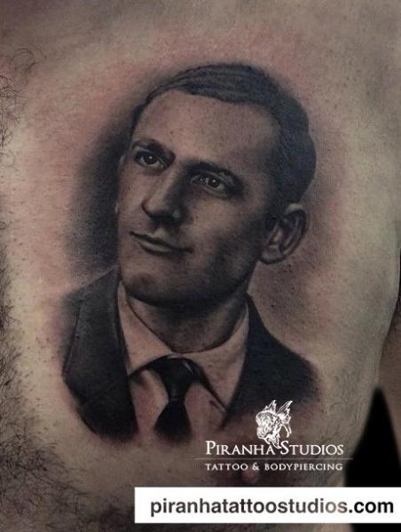 Portrait Realistic Chest Tattoo by Piranha Tattoo Studio