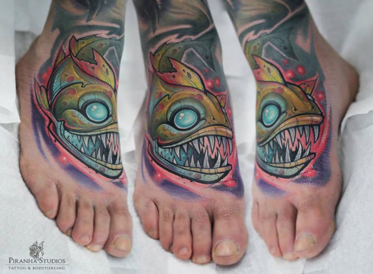 Foot Fish Tattoo by Piranha Tattoo Studio