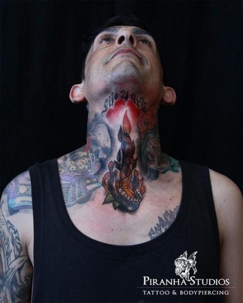 New School Neck Candle Tattoo by Piranha Tattoo Studio