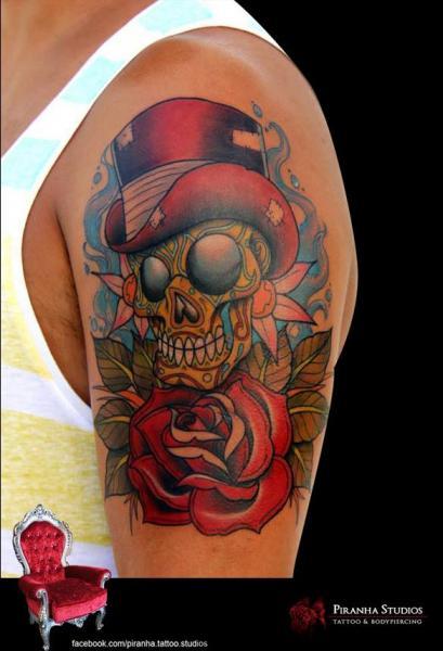 New School Flower Skull Hat Tattoo by Piranha Tattoo Studio