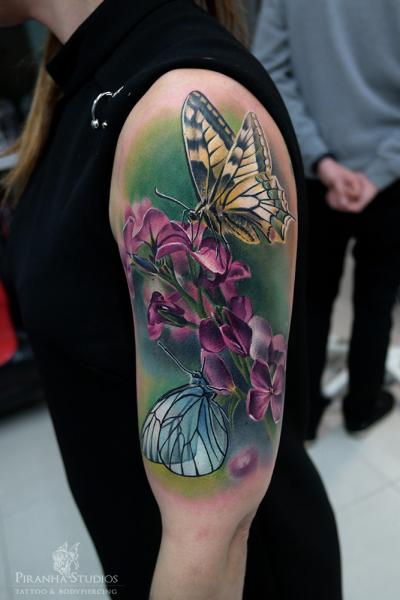 Shoulder Realistic Flower Butterfly Tattoo by Piranha Tattoo Studio