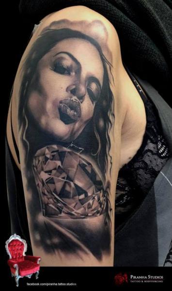 Shoulder Women Diamond Tattoo by Piranha Tattoo Studio
