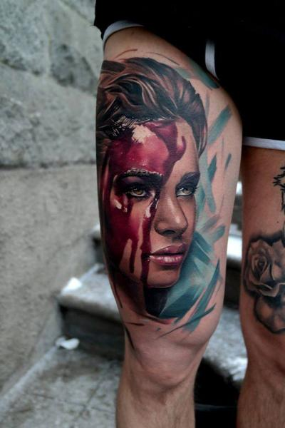 4c0067e8737e0 Portrait Thigh Blood Woman Tattoo by Piranha Tattoo Studio