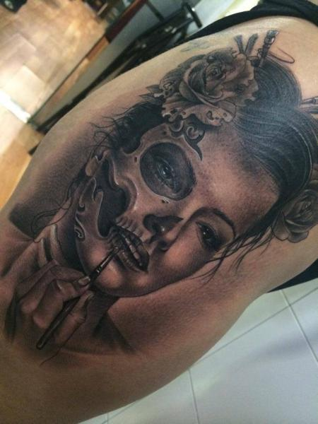 Arm Fantasy Skull Women Tattoo by Fredy Tattoo
